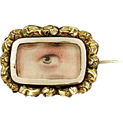 Antique Georgian Gold Cased Lovers Eye Miniature Brooch Pin