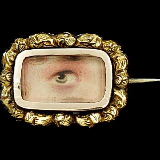 Antique Georgian Gold Cased Lovers Eye Miniature Brooch Pin