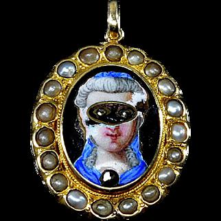 Antique Georgian 18K Enamel Masked Face Diamomd Eye Pearl Pendant