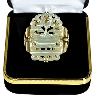 Art Deco Chinese Carved White Jade Silver Ring