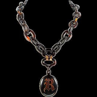 Antique Victorian Tortoise Mongram Pendant Chain Necklace