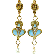 14K Plique-A-Jour French Enamel Art Nouveau Revival Diamond Dangle Earrings