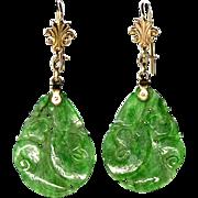 Antique Victorian 10K Chinese Carved Jadeite Jade Earrings