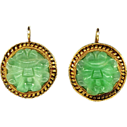 Art Deco Chinese Carved Jade Gold Wash Sterling Earrings 14K Hooks