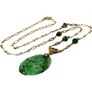 Art Deco Chinese Carved Jade 14K Gold Lavalier Necklace