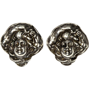 Antique Art Nouveau Unger Brothers Gibson Girls Sterling Earrings