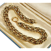 Antique Victorian Gold Filled Heavy Thick Fancy Link Chain Necklace Choker