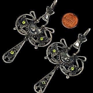 """Vintage Scandinavian Victorian Revival Huge Sterling Earrings 3 3/4"""" Long"""
