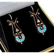 Antique Victorian 14K Filigree Rose Gold Persian Turquoise Earrings