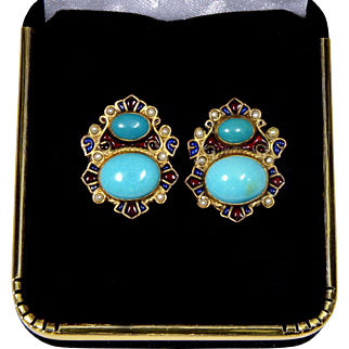 Diego Percossi Papi Persian Turquoise Earrings, Enamel, Pearls