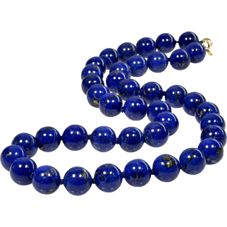 Vintage 14K Undyed Fine Lapis Lazuli Bead Necklace