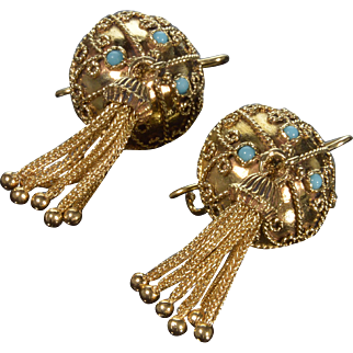 Antique Victorian 14K Tassel Dome Filigree Turquoise Earrings