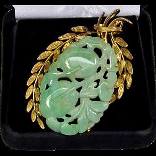 Art Deco 14K Gold Large Chinese Hand Carved Jadeite Jade Pendant