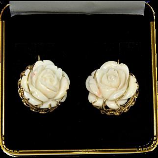 Vintage14K Carved Angel Skin Coral Rose Italian Earrings