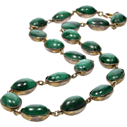 Antique Georgian Malachite Sterling Close Back Riviere Necklace C. 1800