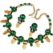 Vintage Schreiner Gripoix Glass Gold Metal Fringe Necklace Earrings Set