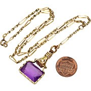 Antique Victorian Hand Holding Amethyst Glass Fob Gold FIlled Necklace