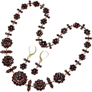 Antique Victorian Bohemian Garnet Silver Necklace, Earrings