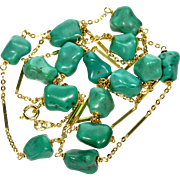 Vintage 14K Natural Persian Turquoise Italian Stationary Necklace