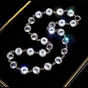 Antique Victorian Bezel Set Rock Crystal Sterling Riviere Necklace