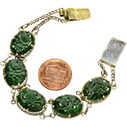 Antique Edwardian Chinese Carved Jadeite Jade Link Bracelet