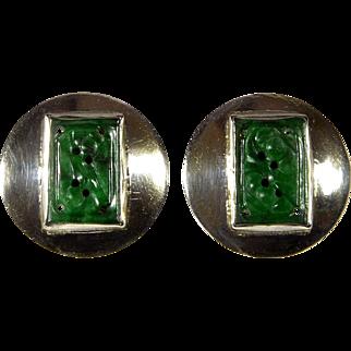 Antique Edwardian Chinese Carved Jadeite Jade Sterling Earrings