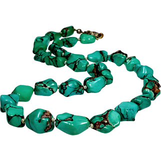 Vintage 30's Natural Matrix Turquoise Bead Necklace Silver Clasp