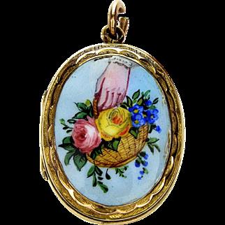 Antique Victorian 9K Hand With Basket Of Flowers Enamel Picture Locket Pendant