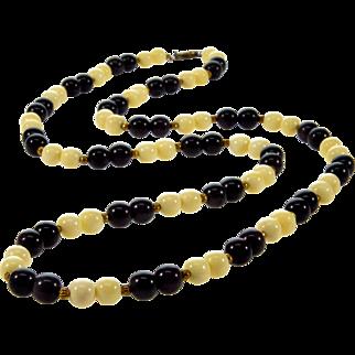 Art Deco Chinese Export Black Jade & Bovine Bone Bead Necklace Silver Clasp
