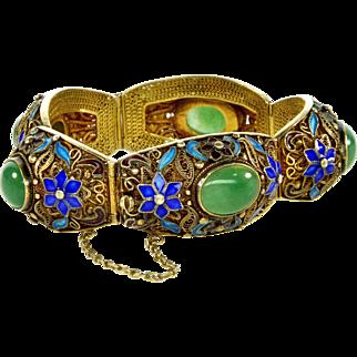 Chinese Export Aventurine Jade Enamel Vermeil Silver Bracelet