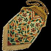 Art Deco 20's Mandalian Mfg.co Enamel Mesh Fringe Handbag Purse