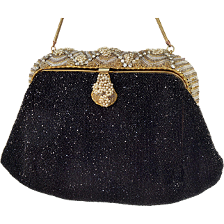Antique Art Deco 20's French Black Glass Seeds Pearls RS Purse