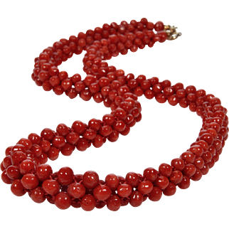 Vintage Fine Undyed Ox Blood Red Aka Coral Woven Necklace