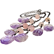 Art Deco Chinese Carved Amethyst Sterling Necklace