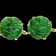 Art Deco 14K Chinese Carved Jadeite Jade Earrings