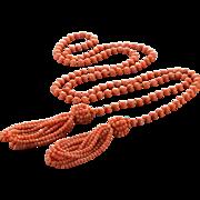 Antique Victorian Rare Salmon Coral 2 Tassel Lariat Bead Necklace