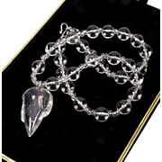 Vintage Rock Crystal Rutilated Quartz Leaf Pendant Necklace
