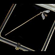 Antique Edwardian Diamonds 18K & Platinum Natural Pearl Linden Tree Seed Stick Pin