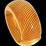 Art Deco Carved Butterscotch Bakelite Clamper Hinged Bracelet