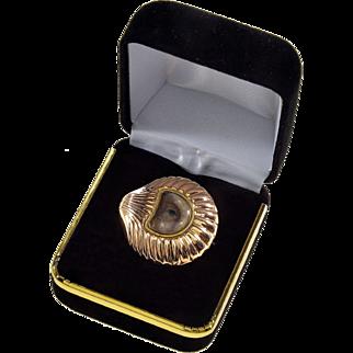 Antique Georgian Lover's Eye 14K Rose Gold Scallop Shell Shape Brooch Pin
