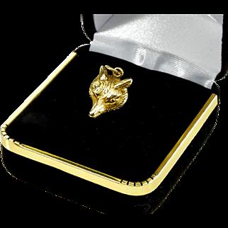 Antique Victorian 9K Gold Fox Head Seal Fob