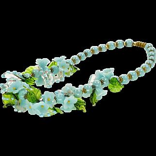 Vintage 30's Venetian Murano Hand Blown Glass Flower Necklace