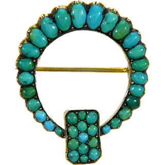 Antique Victorian Persian Turquoise 9K Gold Pin Brooch