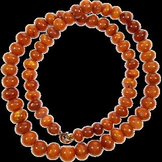 Antique Natural Butterscotch Egg Yolk Baltic Amber Hand Cut Round Bead Necklace