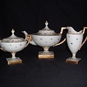 Gorgeous Belleek Lenox Hand-Painted Gilded Pedestal Teapot, Creamer, & Sugar, C. 1906