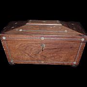 Superb English Regency Rosewood Inlaid Tea Caddy, C. 1820