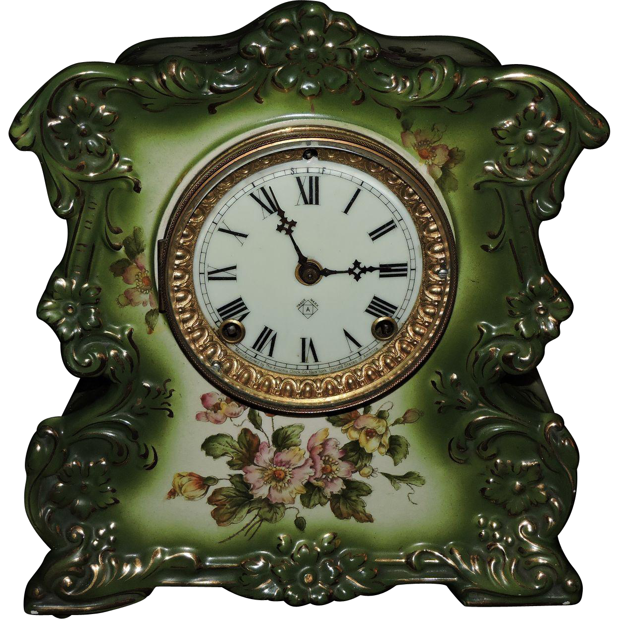 Stunning Porcelain Ansonia Mantel Clock quotWhistlequot C1905