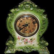 """Vintage Porcelain """"Rose"""" Wind-Up Clock, Unknown Maker, C. 1930"""