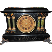 Classic Seth Thomas Two Pillar Adamantine Mantel Clock, C. 1900