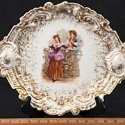 Rare Mavaleix & Granger Limoges Rococo 1700's Gilded Courting Scene Platter, C 1920